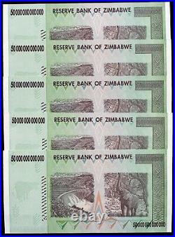 5 Consecutive 2008 50 Trillion Dollars Zimbabwe, Aa P-90 Unc 100 Trillion Series