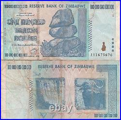 5 X Zimbabwe 100 Trillion Dollars CIRCULATED AA/2008