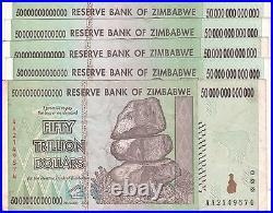5 X Zimbabwe 50 Trillion Dollars CIRCULATED AA/2008 / $100 Trillion Series