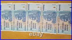 5 x 100 Trillion Dollars zimbabwe UNC 2008 series AA 1/20 bundle trillions
