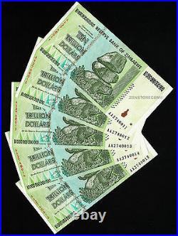 5 x 10 Trillion Zimbabwe Dollars Bankotes AA 2008 Consecutive, Uncirculated, UNC