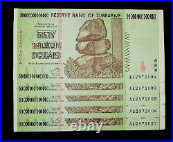 5 x Zimbabwe 50 Trillion Dollar banknotes / UNC consecutive authentic currency