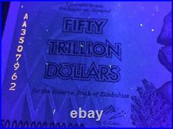 5x Authentic Zimbabwe 50 Trillion Dollar 2008 Aa Unc P90 Uv Pass Coa Certificate