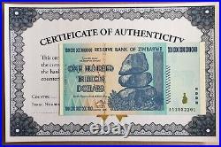 5x Zimbabwe 100 Trillion Dollar 2008 Aa P91 Series Unc Coa Certificate Authentic