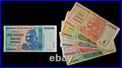 6 Zimbabwe banknotes-1/5/10/20/50 Billion & 100 Trillion Dollars-Authentic