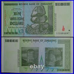 6x Zimbabwe 10 Trillion Dollars 2008 Aa 100% Genuine Over 50 In Stock
