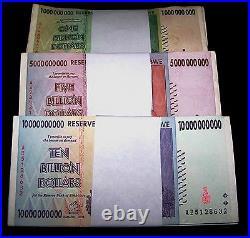 75 x Zimbabwe banknotes-25 x 1,5, &10 Billion Dollars-paper currency 1/4 bundles