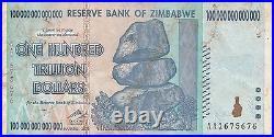 7 X Zimbabwe 100 Trillion Dollars CIRCULATED AA/2008