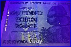 Authentic Zim 100 Trillion Dollar Bond 2008 Aa Serie Unc Certificate Coa Uv Pass