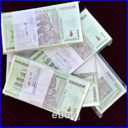 Authentic Zimbabwe Zim 50 Trillion Dollars P90 Aa 2008 Series 100 Pieces Coa