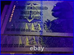 Authetic Zim 100, 50, 20, 10 Trillion Dollar Zimbabwe Set Aa 2008 Uv Passed Coa