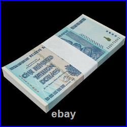Bundle 100 PCS, Zimbabwe 100 Trillion Dollars, 2008, Prefix AA, P-91, Note, UNC