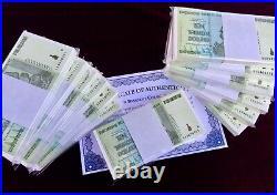 Half Bundle, 50x 10 Trillion Zim Dollars Zimbabwe Aa 2008 P88 Fast Ship 50 Notes