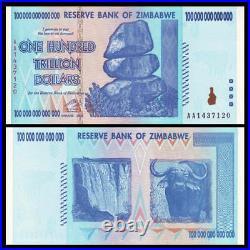 Lot 10 PCS, Zimbabwe 100 Trillion Dollars, AA /2008 Series, P-9 UNC, 1/10 Bundle
