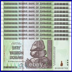 Lot 10 PCS, Zimbabwe 50 Trillion Dollars, 2008, Prefix AA, P-90, Banknotes, UNC