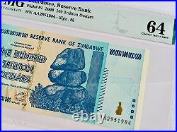 Official Certified 2008 Zimbabwe 100 Trillion Dollars P91 Aa Authentic Pmg 64