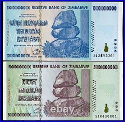 Pair Of 2008 50 & 100 Trillion Dollars Reserve Bank Of Zimbabwe, Aa P90/p91 Unc