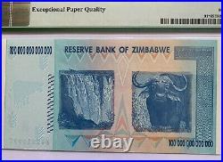 SCARCE ZIMBABWE 100 Trillion Dollars 2008 REPLACEMENT/STAR ZA PREFIX PMG65 EPQ