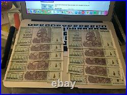 Ten Zimbabwe 50 Trillion Dollar Bank Notes 2008 AA Series (Get One Note Free)