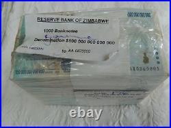 Tt 2008 Zimbabwe 100 Trillion Dollars 1000 Raw Unc Notes In Original Brick