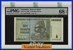 Tt Pk 88 2008 Zimbabwe 10 Trillion Dollars Pmg 68 Epq Superb Gem Uncirculated