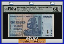 Tt Pk 91 2008 Zimbabwe 100 Trillion Dollars Replacement Star Note Pmg 66 Epq