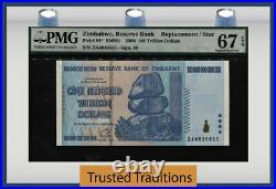 Tt Pk 91 2008 Zimbabwe 100 Trillion Dollars Replacement Star Note Pmg 67 Pq Wow