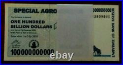 ZIMBABWE 100000000000 100 BILLION DOLLARS BUNDLE P64 100 TRILLION Serie 2008 UNC
