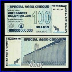 ZIMBABWE 100000000000 100 BILLION DOLLARS x 50 AA 2008 UNC TRILLION Serie Bundle