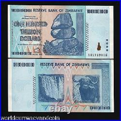 ZIMBABWE 100 Trillion Dollars Authentic UV Passed P91 AA GEM UNC World's Highest