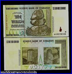 ZIMBABWE 10 Trillion Dollars Bundle x 50 Replacement Note 2008 UNC 20 100 Series