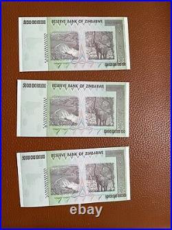 ZIMBABWE 2008 P90 50 Trillion Dollars GEM UNC 3 PCs Genuine UV LIGHT TESTED