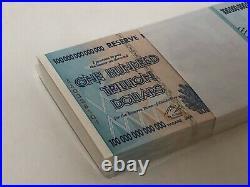 ZIMBABWE 2008 P91 100 Trillion Dollars Full Bundle 100pcs