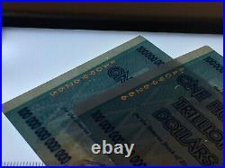 Zimbabwe 100 Authentic Trillion Dollars Aa 2008 Series P91 Unc Uv Passed Coa
