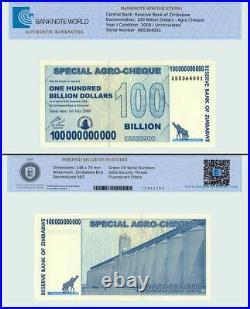 Zimbabwe 100 Billion Dollars Agro Cheque, 2008, P-64, UNC, TAP Authenticated