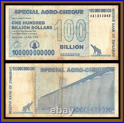 Zimbabwe 100 Billion Dollars Agro Cheque x 10 Pcs, 2008 Used Circulated Cir