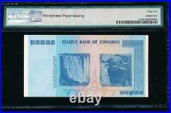 Zimbabwe 100 TRILLION DOLLAR BILL AA/2008, PMG 65EPQ certified gem (price for 1)
