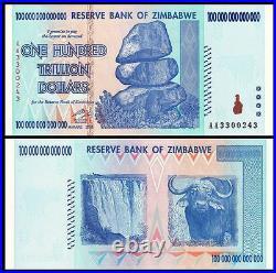 Zimbabwe 100 TRILLION Dollars AA-2008 Pick-91 UNC AUTHENTIC, UV PASSED