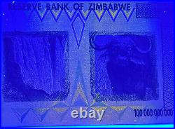Zimbabwe 100 TRILLION Dollars AA 2008 Pick-91 UNC AUTHENTIC & UV PASSED