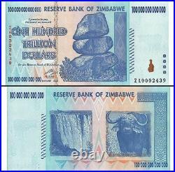 Zimbabwe 100 Trillion Dollar Banknote, 2008, P-91, UNC, Replacement, TAP Authent
