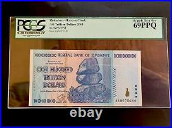 Zimbabwe 100 Trillion Dollar Banknote AA 2008 P-91 PCGS 69 PPQ SUPERB GEM