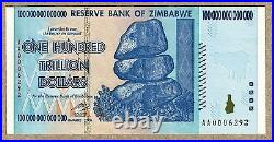 Zimbabwe 100 Trillion Dollar EXTREMELY LOW Serial AA000. Money Inflation Record