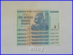 Zimbabwe 100 Trillion Dollar Set (5 Notes) Authentic, AA, 2008 P-91 UNCIRCULATED