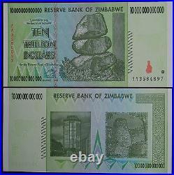 Zimbabwe 100 Trillion Dollars (10 X 10 Trillion) 2008 Aa Over 50 In Stock