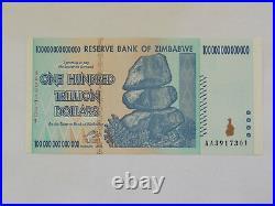 Zimbabwe 100 Trillion Dollars (1 Note = 100 Trillion) AA 2008 P-91, UNCIRCULATED