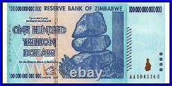 Zimbabwe 100 Trillion Dollars 2008 AA UV Verified Banknote Free Shipping Unc