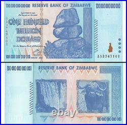 Zimbabwe 100 Trillion Dollars 2008 Banknote UNC Uncirculated AA+ P-91