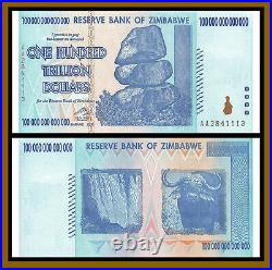Zimbabwe 100 Trillion Dollars, 2008 P-91 (3 Pcs Set) Error Bird Shift Unc