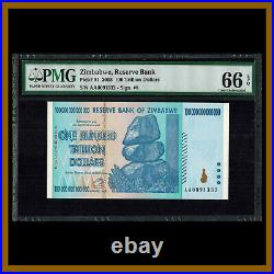 Zimbabwe 100 Trillion Dollars, 2008 P-91 AA PMG 66 EPQ Low Serial Number