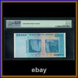 Zimbabwe 100 Trillion Dollars, 2008 P-91 AA PMG 67 EPQ Low Serial Number